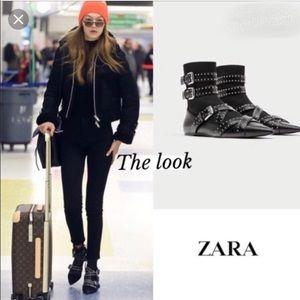 BNWT Zara Buckled Flat Sock Ankle Boots 7.5